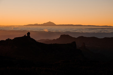 GRAN CANARIA,SPAIN - NOVEMBER 6, 2018: View from the mountains Roque Nublo on the Tenerife island