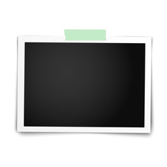 Realistic vector photo frame with straight edges on sticky tape placed horizontally on white. Template photo design.