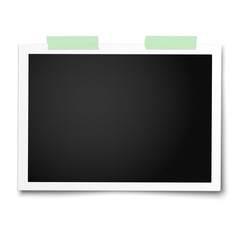 Realistic vector photo frame with straight edges placed on white by two pieces of green adhesive tape. Template photo design.