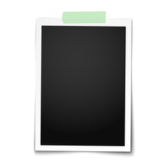 Realistic vector classic photo frame with straight edges on light green adhesive, sticky tape placed vertically on white background. Template photo design.