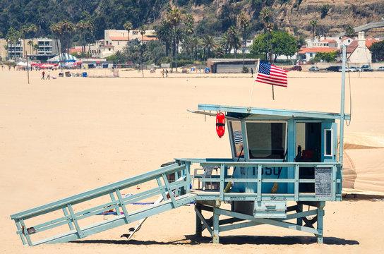 Beach lifeguard tower in Santa Monica, California