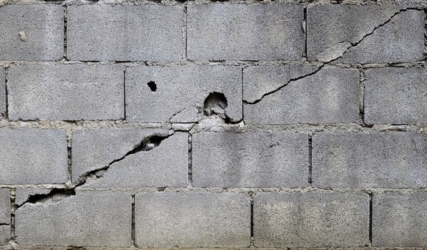 broken block cement wall