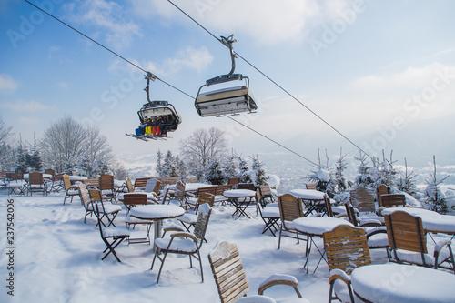 Outdoor Mountain Cafe In Winter Season Poland Ski Resort Zakopane