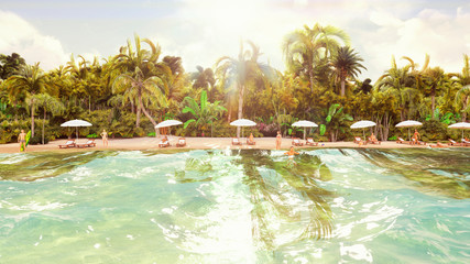 Palm trees over a tropical island with an exotic white beach with bathing people on a Sunny day with blue sky. 3D Rendering.