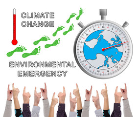 Global warming concept pointed by several fingers