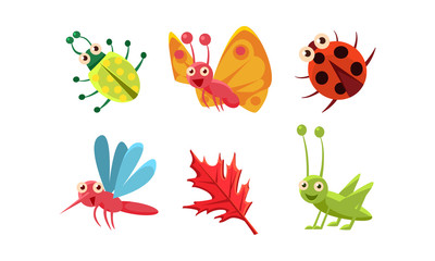 Flat vector set of cute insects and red leaf. Grasshopper, butterfly, ladybug and mosquito. Funny cartoon characters