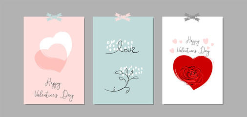Lovely Abstract Hand Drawn Greeting Cards with traditional symbols of Valentine s Day.