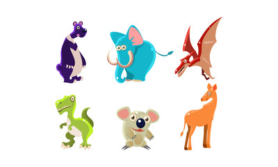 Flat vector set of wild animals and Jurassic period creatures. Funny cartoon characters. Wildlife theme