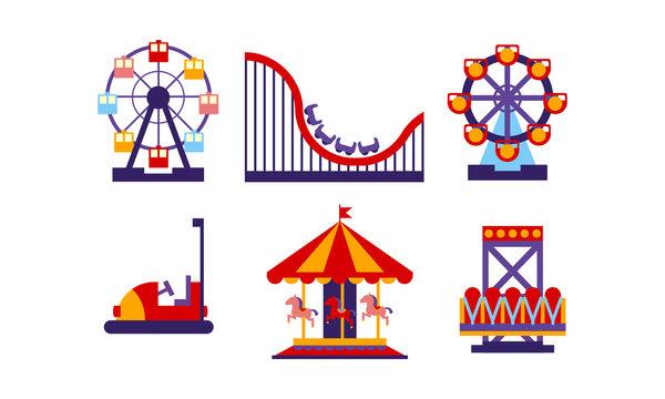 Flat vector set of amusement park elements. Funfair attractions and carousels. Entertainment theme