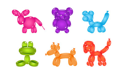Set of balloons in form of different animals. Inflatable children toys. Flat vector for postcard or party poster