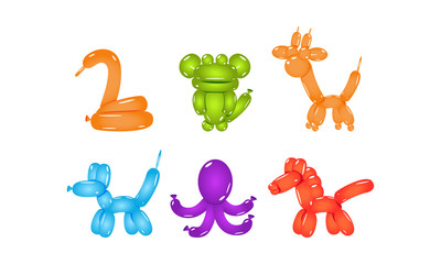 Set of glossy balloons in shape of different animals. Flat vector elements for party poster or postcard