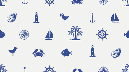 Vector seamless pattern with cute sea objects, anchor, sailboat, lighthouse, crab, fish, seagull, palm, seashell. Blue elements of marine design on light background