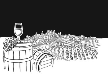 Foto auf Acrylglas Schwarz vineyard landscape with glass scene