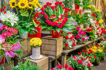 Flower market with various multicolored fresh flowers. Selective focus