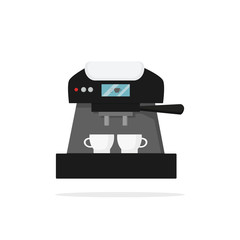 Icon of coffee machine with two cups. Kitchen appliance. Tasty beverage. Household equipment. Hot drink. Electric device. Modern technology theme. Flat vector illustration isolated on white background