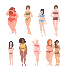 Collection of gorgeous women of different race, height and figure type dressed in swimwear. Cute female cartoon characters isolated on white background. Colorful vector illustration in flat style.