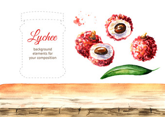 Fresh lychee fruits elements set. Watercolor hand drawn illustration  isolated on white background