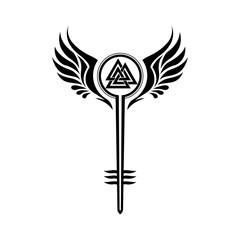 Valkyrie symbol with Odin's Valknut