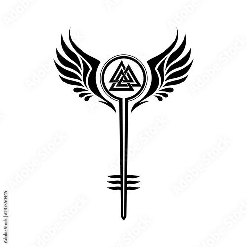 Valkyrie Symbol With Odins Valknut Stock Image And Royalty Free