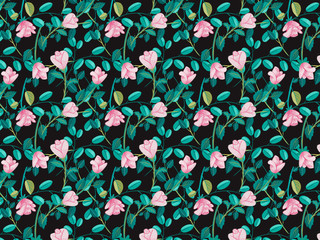 hand drawn roses flowers pattern