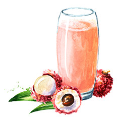 Lychee juice. Watercolor hand drawn illustration  isolated on white background