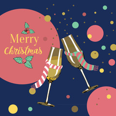 Two glasses with christmas scarfs. Merry Christmas. Vector illustration on dark blue background with champagne bubbles around