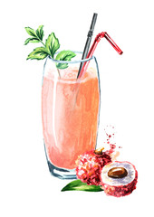 Lychee juice. Watercolor hand drawn illustration,  isolated on white background