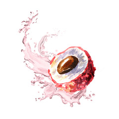 Splash of lychee juice. Watercolor hand drawn illustration, isolated on white background