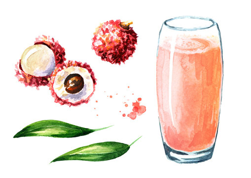 Lychee juice elements set. Watercolor hand drawn illustration  isolated on white background