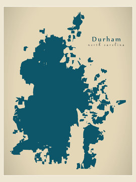 Modern City Map - Durham North Carolina city of the USA