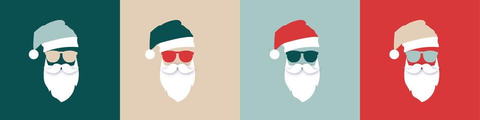 Hipster Santa chsirtmas set colorful