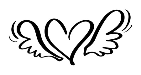 Vector Valentines Day Hand Drawn Calligraphic Heart with wings. Holiday Design element valentine. Icon love decor for web, wedding and print. Isolated Calligraphy lettering illustration