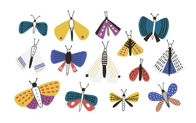 Bundle of bright colored cartoon moths isolated on white background. Set of exotic nocturnal flying insects with colorful wings, butterflies. Natural vector illustration in simple doodle style. Fotoväggar