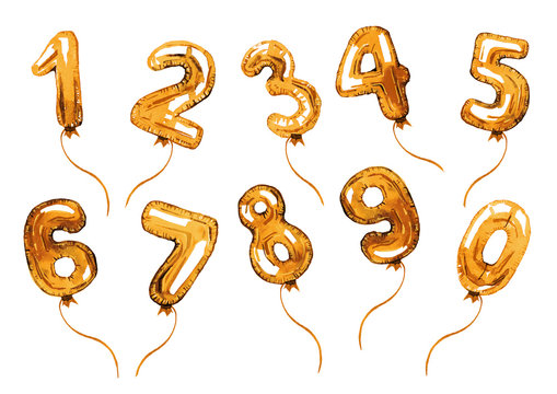 Golden balloon numbers. Birthday decoration. Hand drawn cartoon watercolor sketch illustration isolated on white background