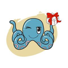 Octopus holding gift box.Cute cartoon kawaii