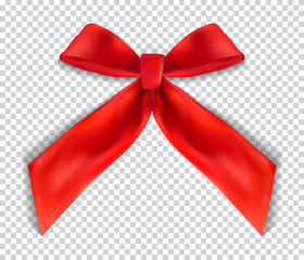 Design Product Red Ribbon and Bow on transparent background. 3D Realistic Vector Illustration. EPS10