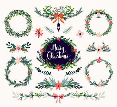 Christmas floral collection with seasonal wreaths and decorative bouquets