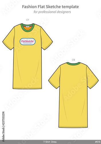 tee shirt dress fashion flat technical drawing template stock image