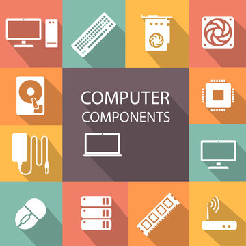 Computer components icon set processor, motherboard, RAM, video card, cooler
