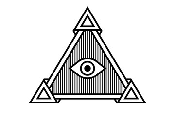 All Seeing icon illustration. The symbol of the Illuminati eye in the pyramid, in different styles.