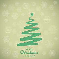 Stylized green christmas tree on snowflakes background. Paper christmas tree. Merry Christmas Greetings card