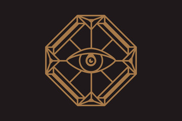 All seeing eye in the diamond. Freemasonry icon, the emblem of the new world order, vector illustration