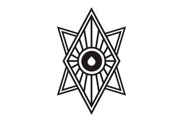 Mystical geometry symbol. Linear alchemy, occult, philosophical sign. For music album cover, poster, flyer, sacramental logo design. Astrology, imagination, creativity, superstition, religion concept.