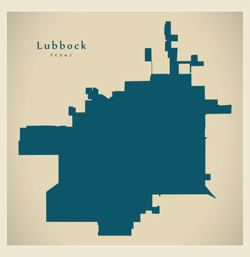 Modern City Map - Lubbock Texas city of the USA