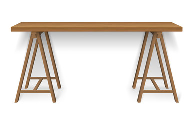 Wooden work desk scandinavian style, isolated. Computer desk. Crafting table.