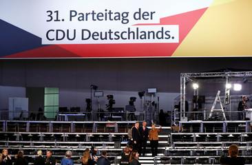 German Chancellor Angela Merkel tours Christian Democratic Union (CDU) party congress venue in Hamburg