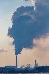 Smoke from pipes in a factory pollutes nature