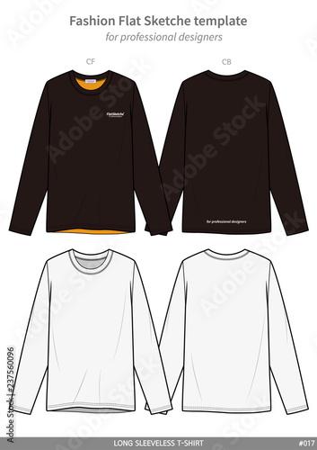 LONG SLEEVE Tee Shirts Fashion Flat Technical Drawing Template