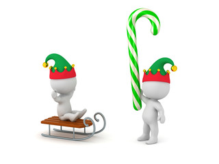 117e344c71154 3D Characters in Elf Hats with Sled and Candy Cane