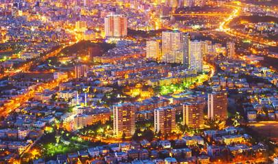 Aerial cityscape Tehran twilight. Iran